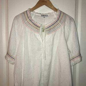 Madewell Rainbow Smocked Peasant Top - NWT, Size L